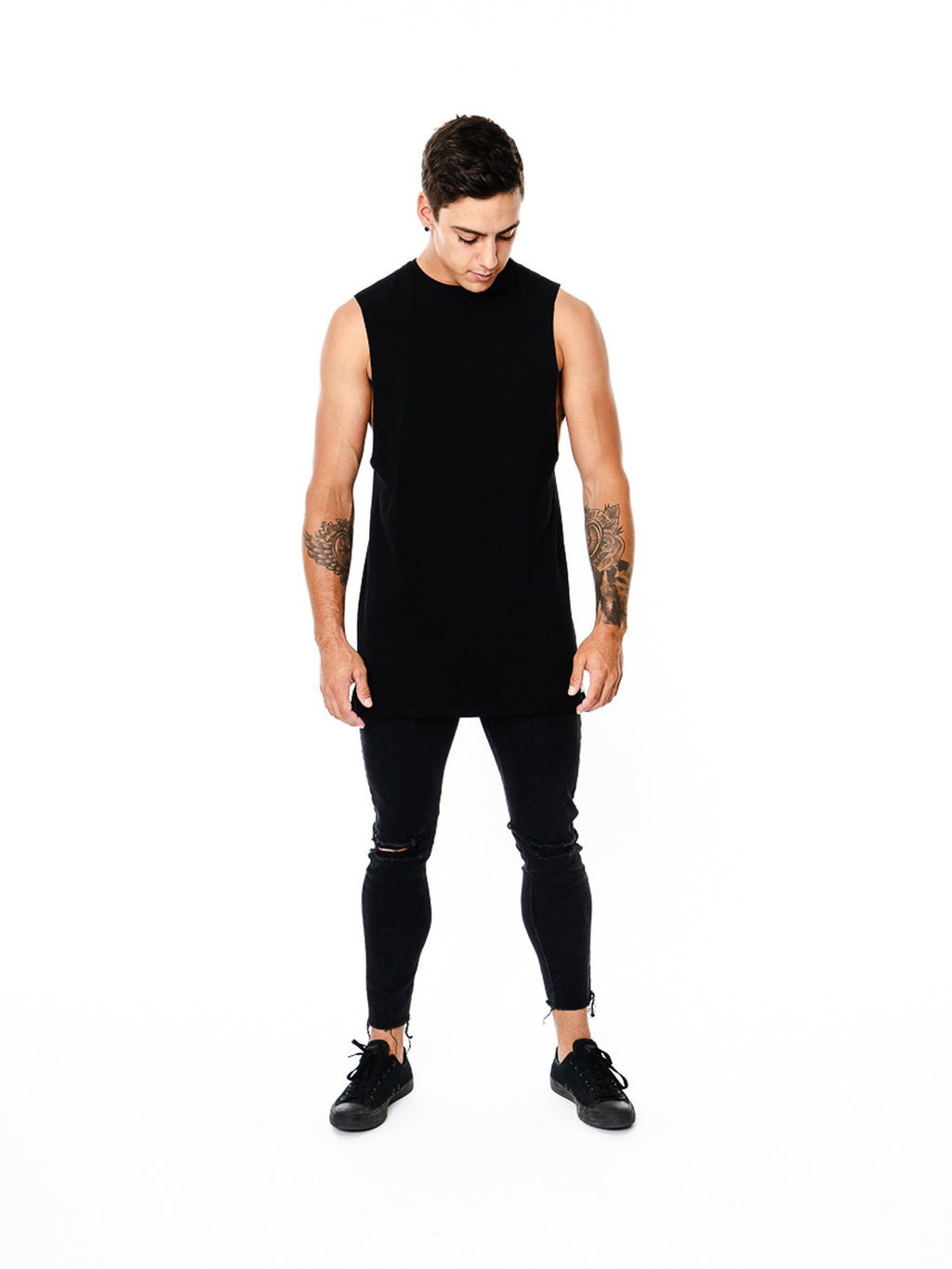 BASIX PLAIN CUT OFF TEE (BLACK) MANASSE COLLECTION Imperial Clothing
