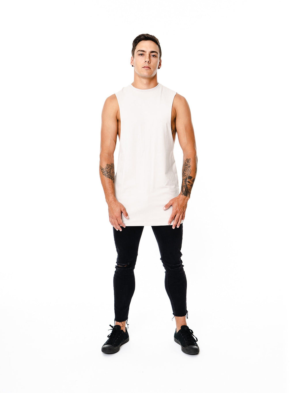 BASIX PLAIN CUT OFF TEE (GREY) MANASSE COLLECTION Imperial Clothing