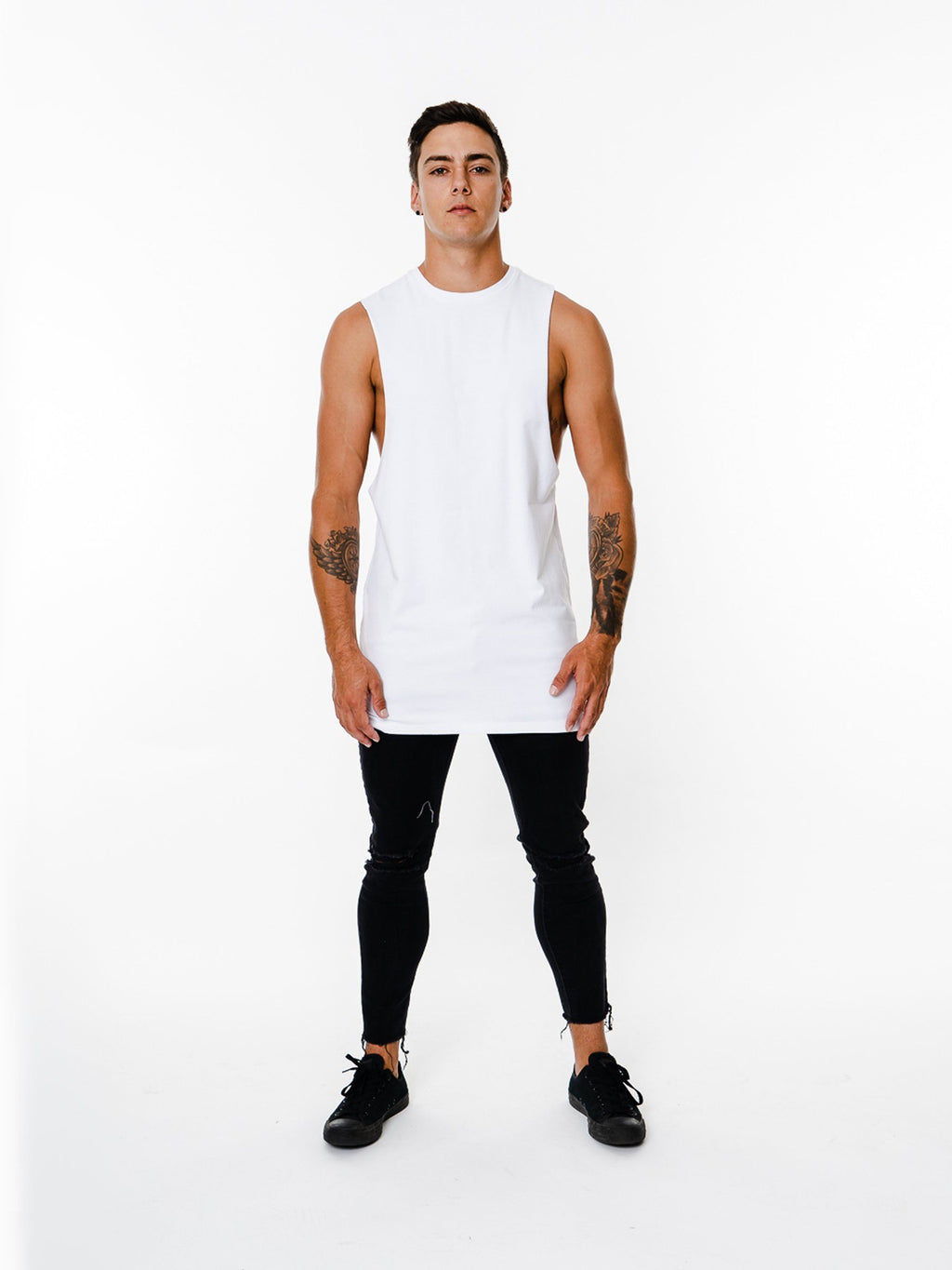 BASIX PLAIN CUT OFF TEE (WHITE) MANASSE COLLECTION Imperial Clothing