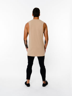 BASIX PLAIN CUT OFF TEE (BEIGE) MANASSE COLLECTION Imperial Clothing