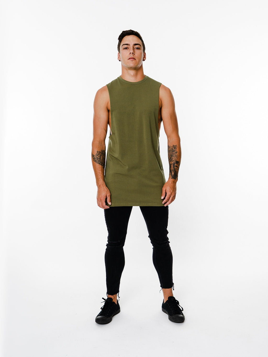BASIX PLAIN CUT OFF TEE (KHAKI) MANASSE COLLECTION Imperial Clothing