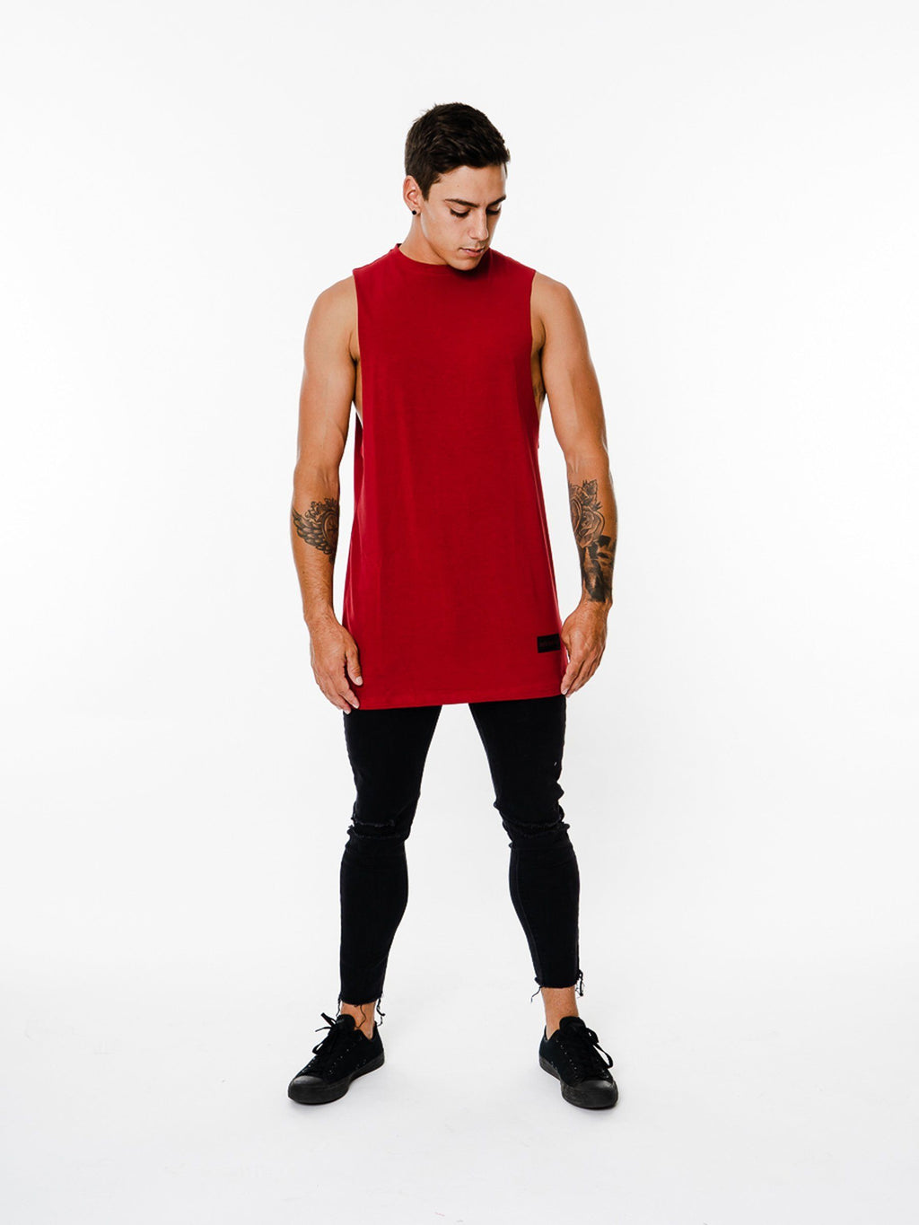 BASIX COLLECTION CUT OFF TEE (DEEP RED) MANASSE COLLECTION Imperial Clothing