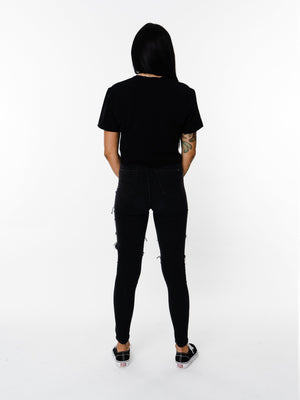 BASIX PLAIN CROP TEE (BLACK) MANASSE COLLECTION Imperial Clothing