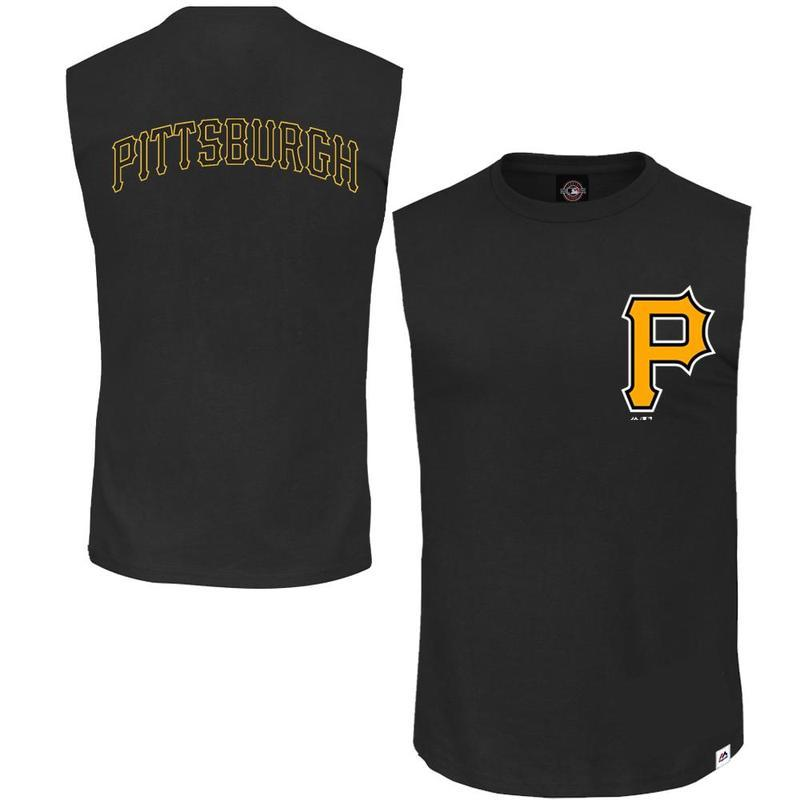 ENGLEWOOD MUSCLE TEE PITTSBURUGH PIRATES (BLACK) Majestic Athletic Imperial Clothing