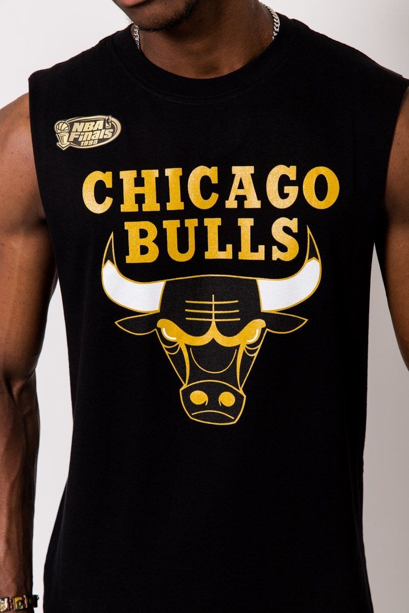 CHICAGO BULLS (BLACK) MIST GOLD MUSCLE TEE Mitchell & Ness Imperial Clothing