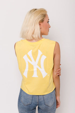 NY YANKEES MONTANA CROPPED MUSCLE- YARROW Majestic Athletic Imperial Clothing