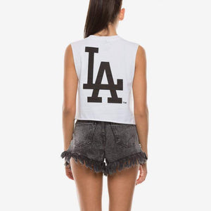 LA DODGERS MONTANA CROPPED MUSCLE- WHITE Majestic Athletic Imperial Clothing