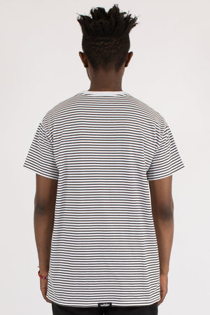 OVERPASSED STRIPE CUSTOM FIT TEE - WHITE/BLACK WNDRR Imperial Clothing