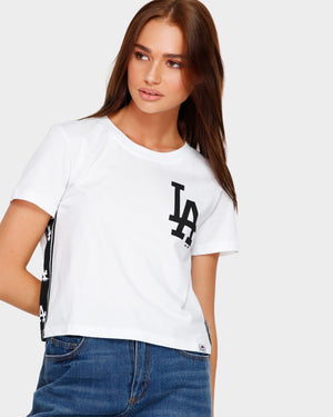 LA DODGERS WHITE PILSEN CROP Majestic Athletic Imperial Clothing