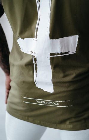 STOLEN FAITH CUT OFF TEE (KHAKI) MANASSE COLLECTION Imperial Clothing