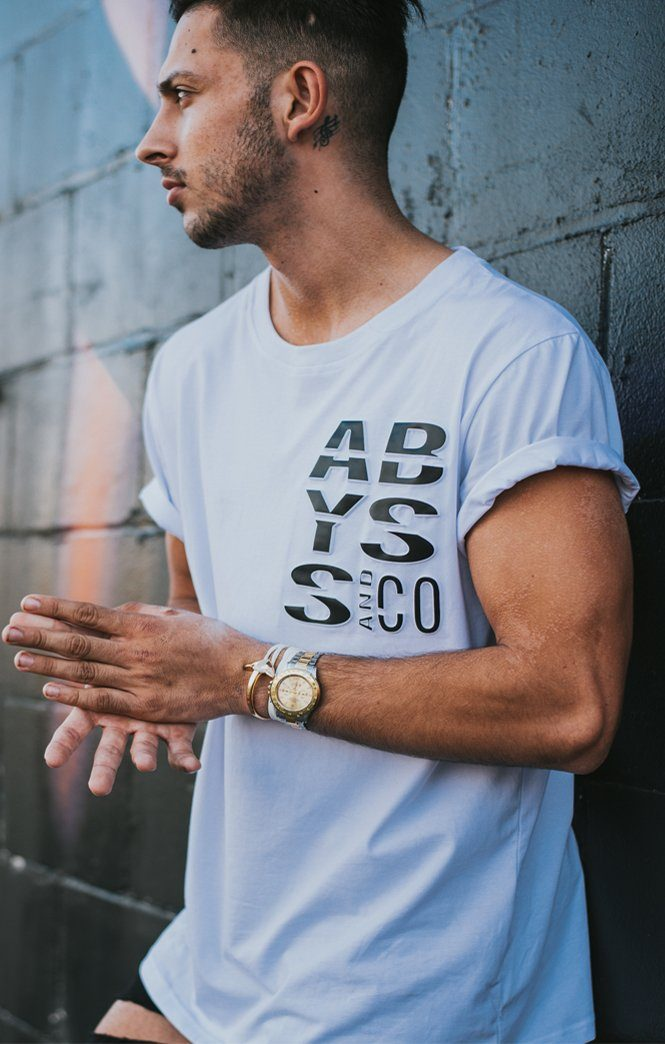 Embossed Black Logo T-shirt White Abyss & Co Imperial Clothing