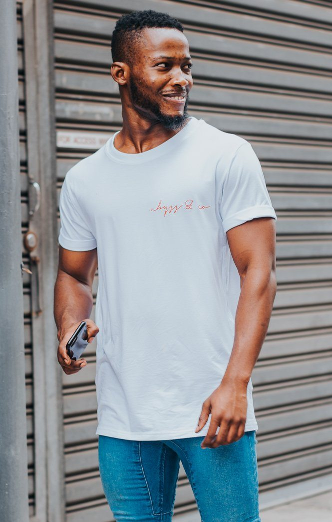 Red Embroidered Logo Bamboo T-shirt White Abyss & Co Imperial Clothing