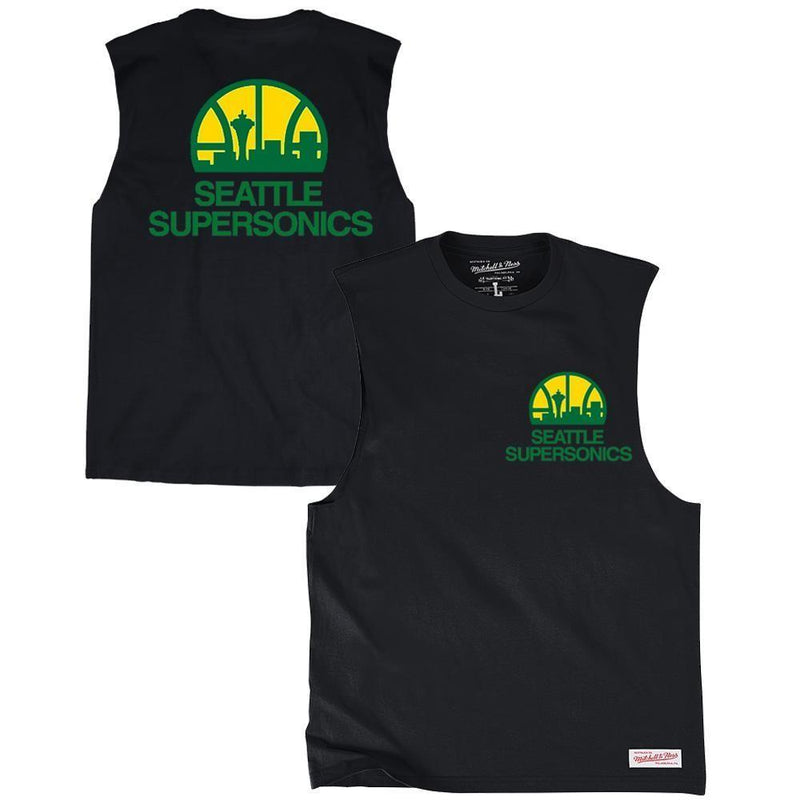 RETRO REPEAT LOGO MUSCLE SEATTLE SUPERSONICS (BLACK) Mitchell & Ness Imperial Clothing