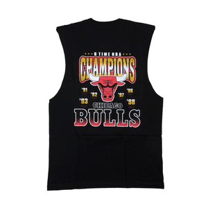 CHICAGO BULLS (BLACK) 6 TIME GOLD MUSCLE TEE Mitchell & Ness Imperial Clothing