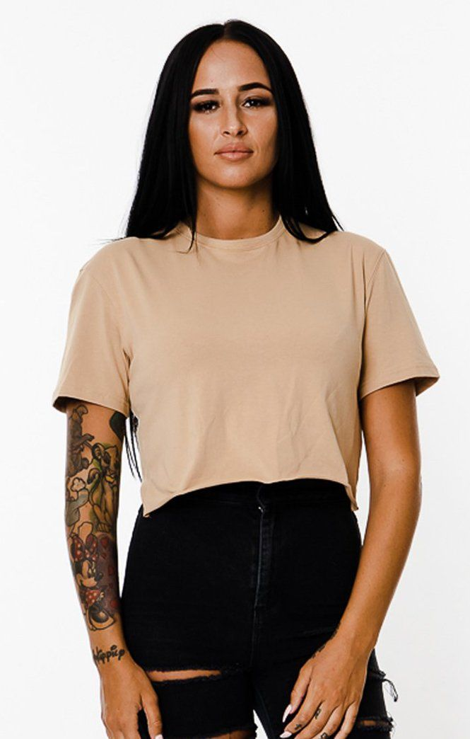 BASIX PLAIN CROP TEE (BEIGE) MANASSE COLLECTION Imperial Clothing