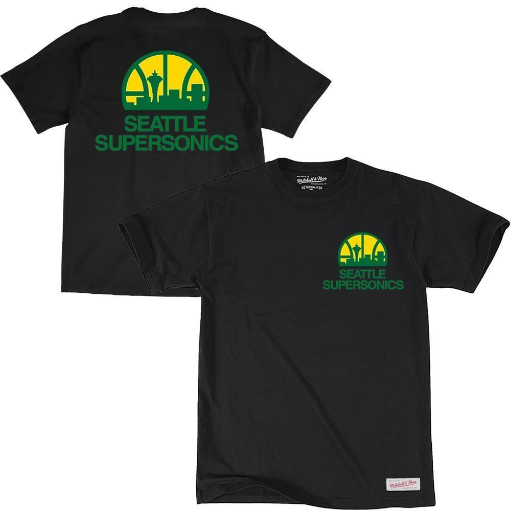 RETRO REPEAT LOGO TEE SEATTLE SUPERSONICS (BLACK) Mitchell & Ness Imperial Clothing