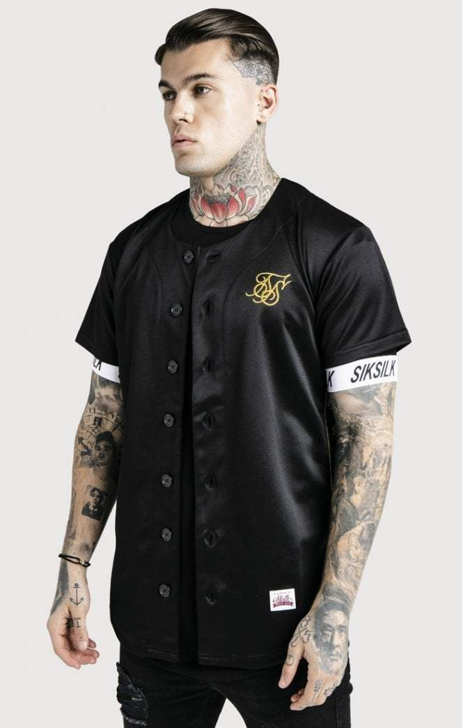Baseball Jersey – Black & Gold SikSilk Imperial Clothing