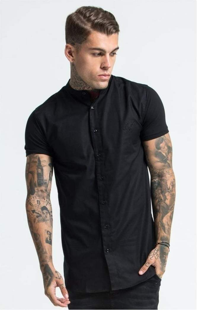 Grandad Collar Jersey Sleeve Fitted Shirt – Black SikSilk Imperial Clothing