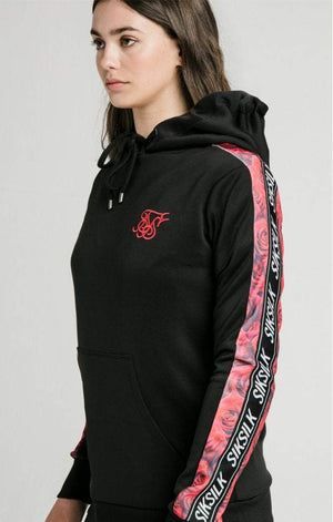 Rose Panel Poly Overhead Hoodie - Black SikSilk Imperial Clothing