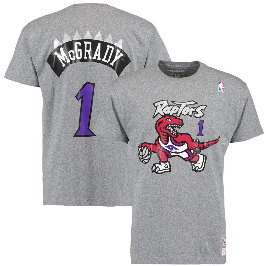 NAME & NUMBER SS TEE RAPTORS MCGRADY 1 (GREY) Mitchell & Ness Imperial Clothing