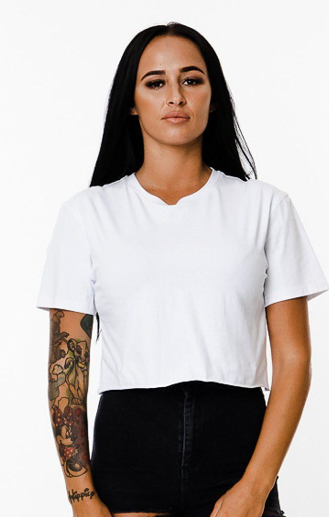 BASIX PLAIN CROP TEE (WHITE) MANASSE COLLECTION Imperial Clothing