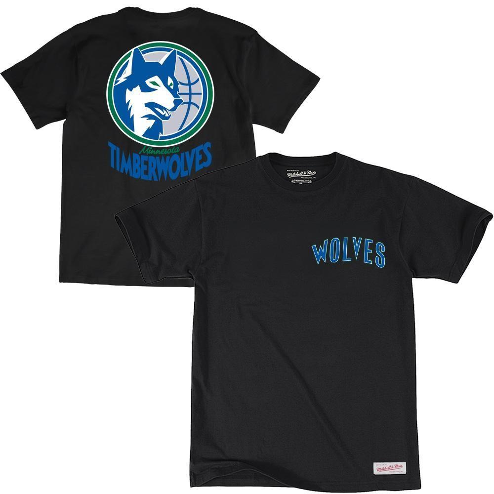 RETRO REPEAT LOGO TEE MINNESOTA TIMBERWOLVES (BLACK) Mitchell & Ness Imperial Clothing