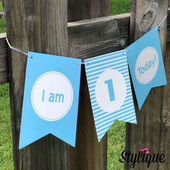 Highchair First Birthday Banner For Boys - Banners | Thestylique.com
