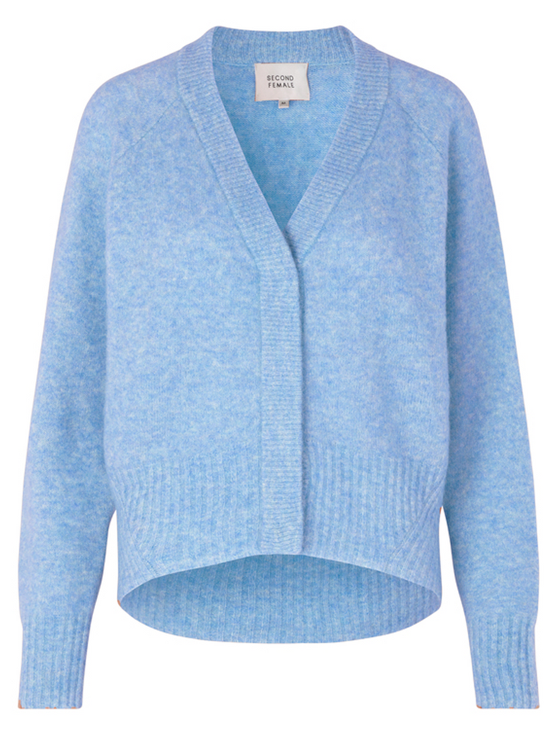 Mos Moshin Brook knit cardigan värissä Blue.