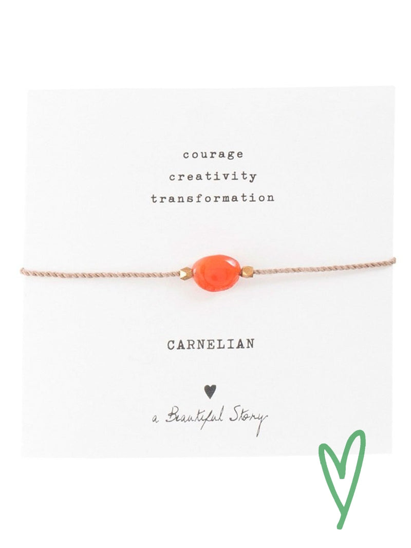 A Beautiful Storyn Carnelian Gemstone Card.