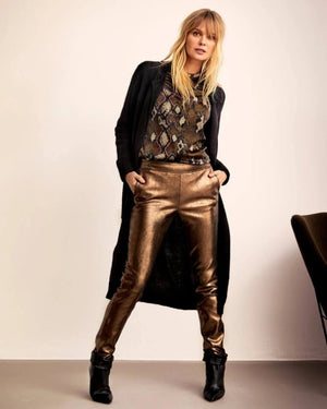 Lebon metal. st.leather pants