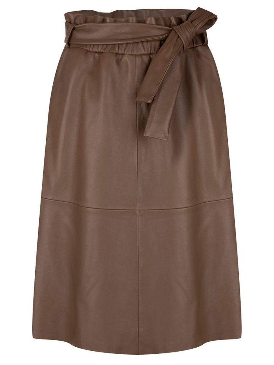 Danten Noora leather skirt värissä Brown.