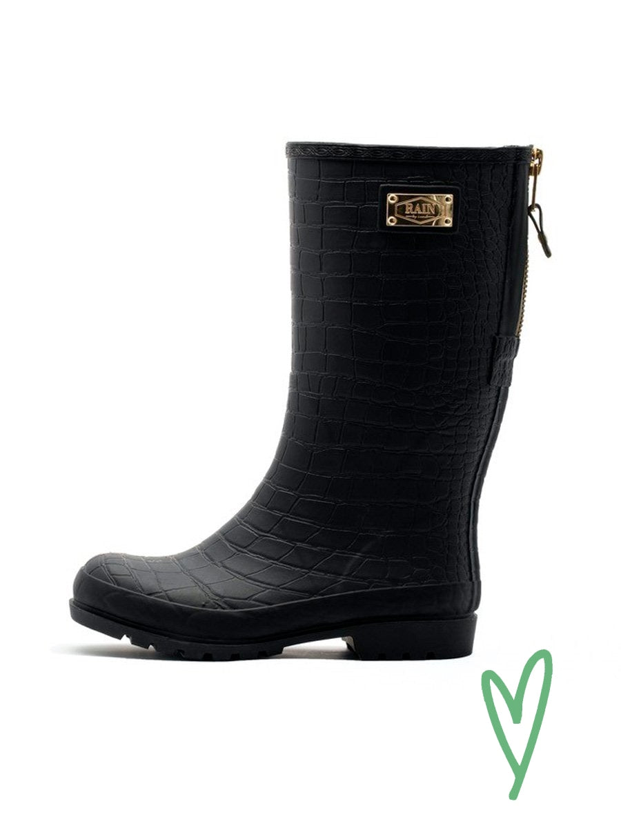 HIGH BLACK CROCO rain boot
