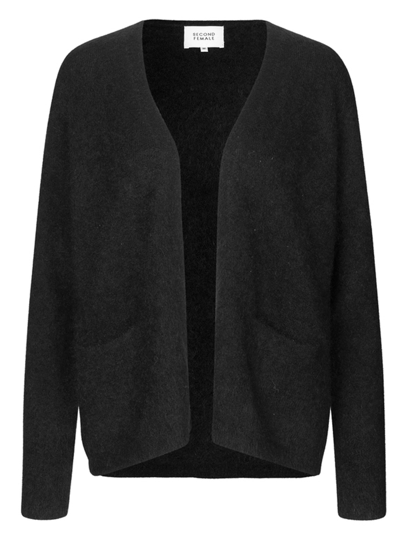 Second Femalen Brook knit short cardigan värissä Black.