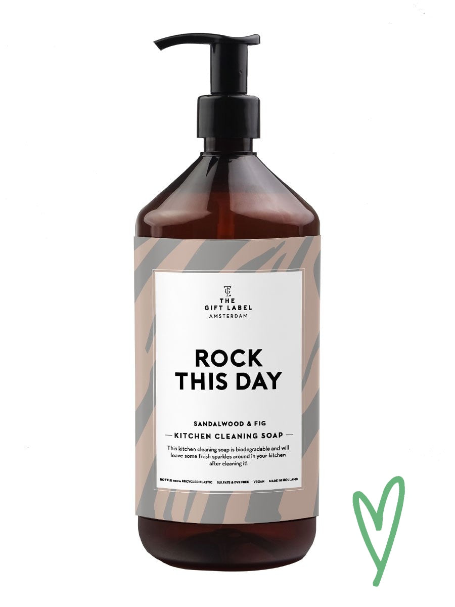 The Gift Labelin Rock this day Kitchen cleaning soap.