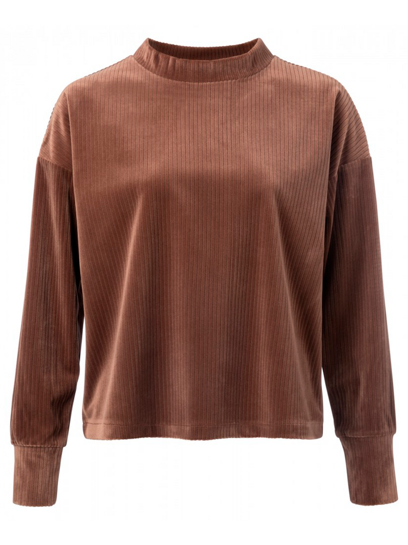 Yayan Ribbed velvet shirt värissä Brown.
