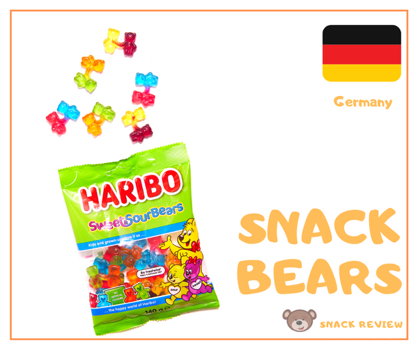An opened bag of Haribo Sweet & Sour Bears Made in Germany