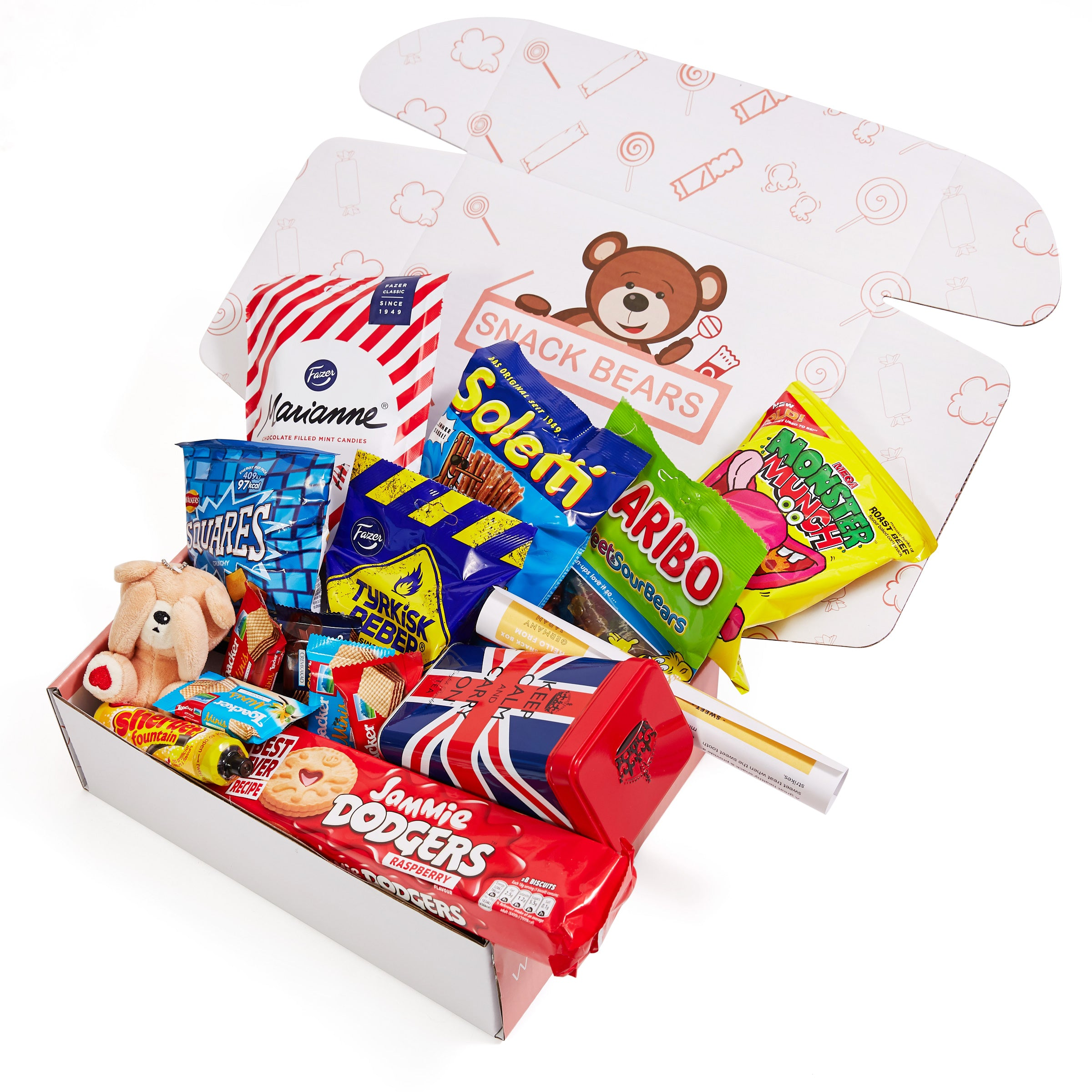 A box of European snacks such as the UK, Finland, Germany and Austria snacks.