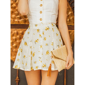 Daisy Print Button Detail Flare Skirt