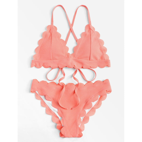 Scalloped Trim Criss Cross Bikini Set