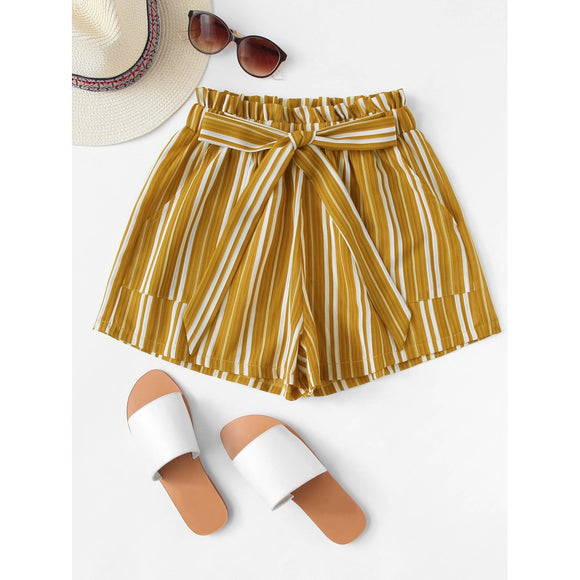 Floral Striped Frill Knot Shorts