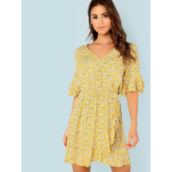 Tiered Flounce Sleeve Surplice Wrap Floral Dress
