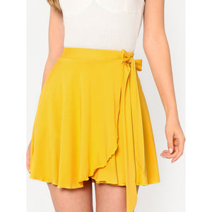 Elastic Waist Self Belted Overlap Skirt