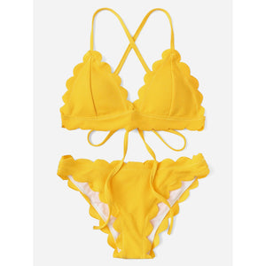Scallop Trim Self Tie Bikini Set