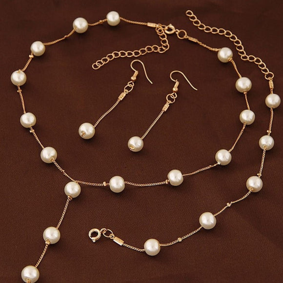 2019 Fashion Women Delicate Classy Jewelry Faux Pearl Necklace Earring Bracelet Jewelry Set