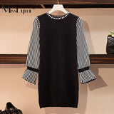 L-5XL Plus Size Women Knitted Dress