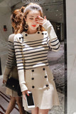 Knitted 2 Piece Set Women Long Sleeve stripe Pullover Sweater