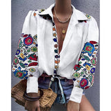 Floral Print Lantern Sleeve Casual Blouse