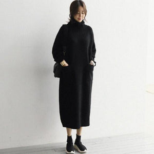 Turtleneck Sweater dress With Pockets