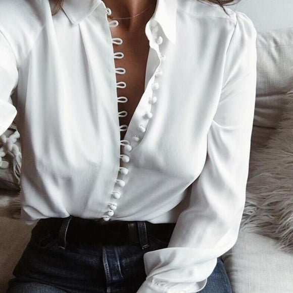 Solid Long Sleeve Blouse Lapel Shirt