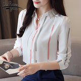 long sleeve striped office shirt